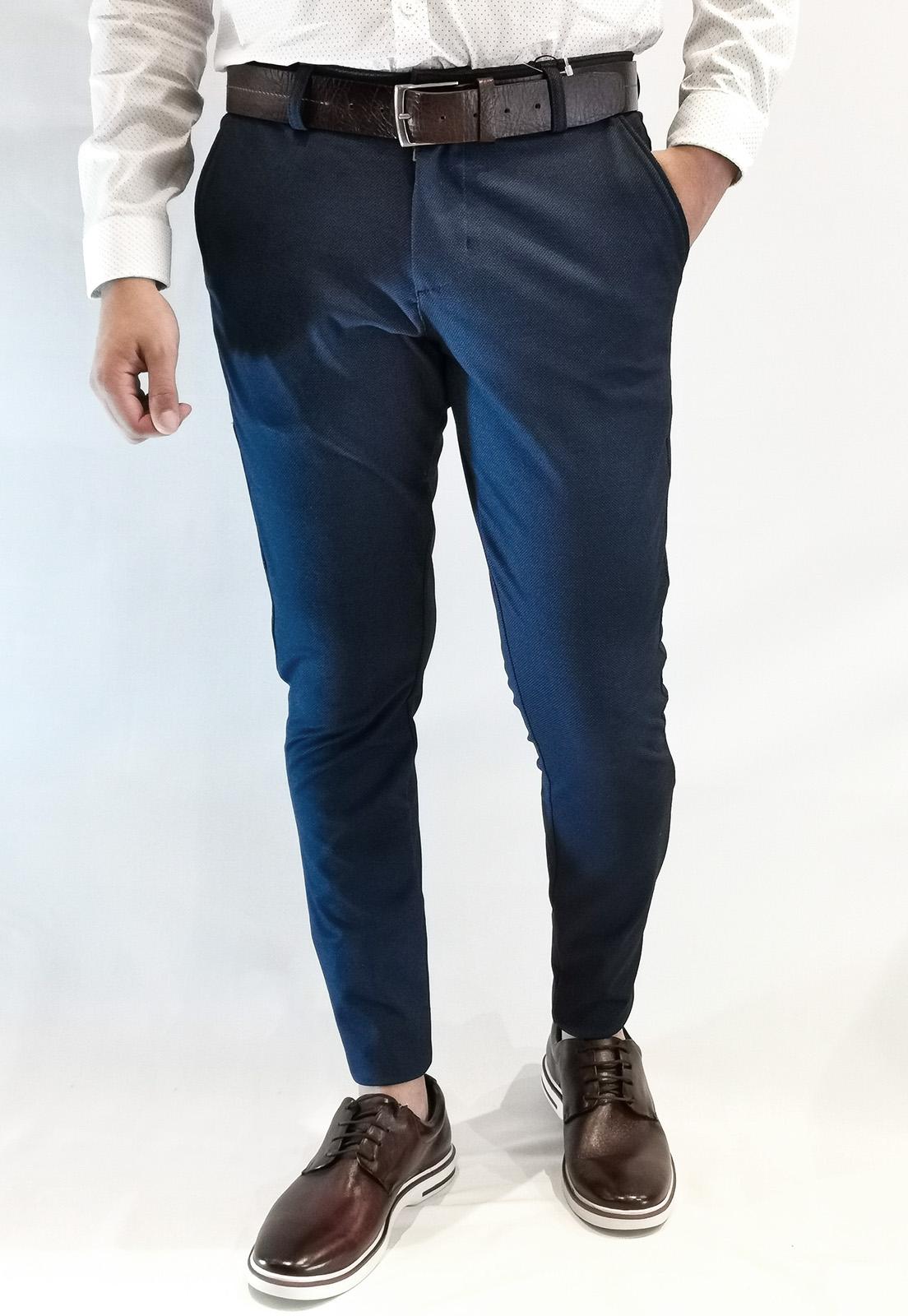 Calça Docthos Slim Em Malha Maquineta Azul