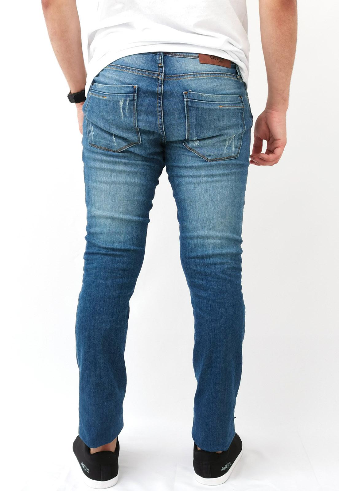 Calça Jeans Caution Slim Azul Lavado