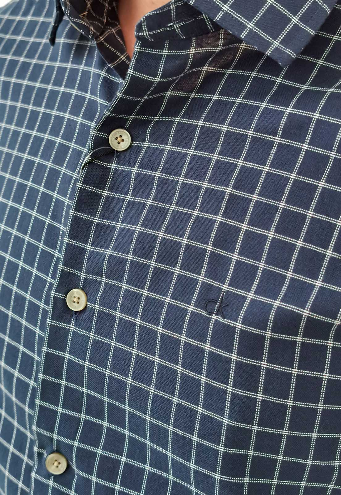 Camisa Calvin Klein SLim Xadrez Marinho