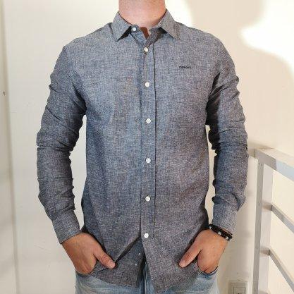 Camisa Colcci Linho Classic Cinza/Variante Azul