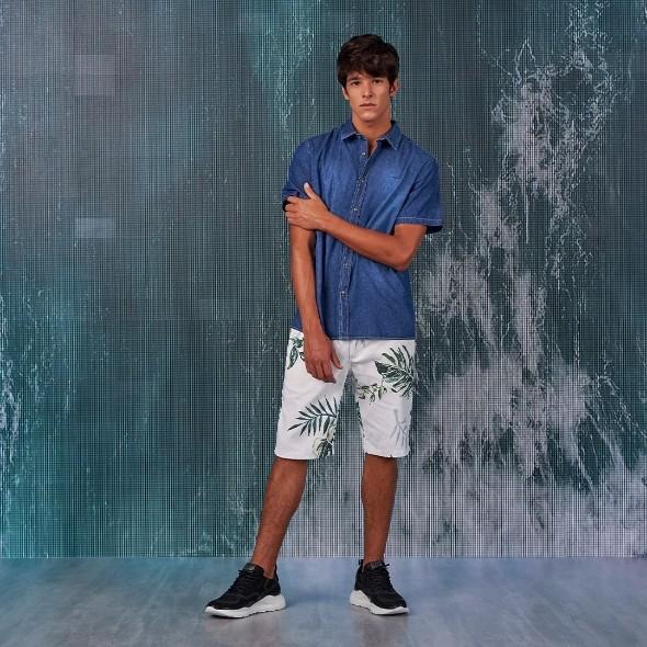 Camisa Colcci Manga Curta Jeans