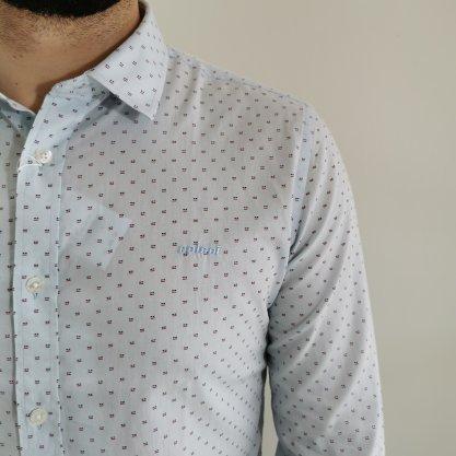 Camisa Colcci Slim Azul Clara com Detalhes