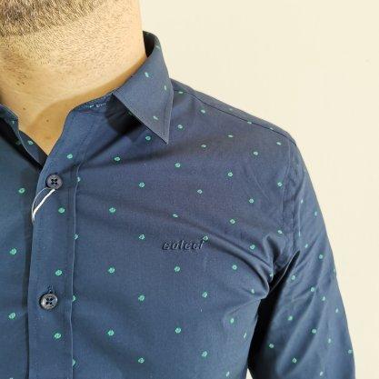 Camisa Colcci Slim Manga Longa Azul Marinho com Detalhes