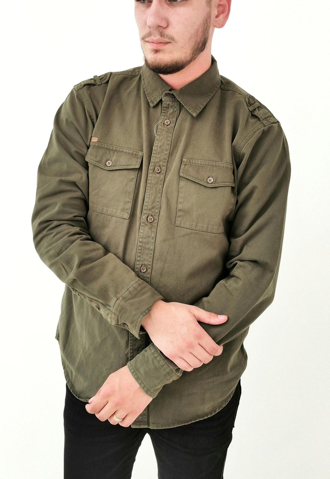 Camisa Dixie Sarja Slim Verde Militar