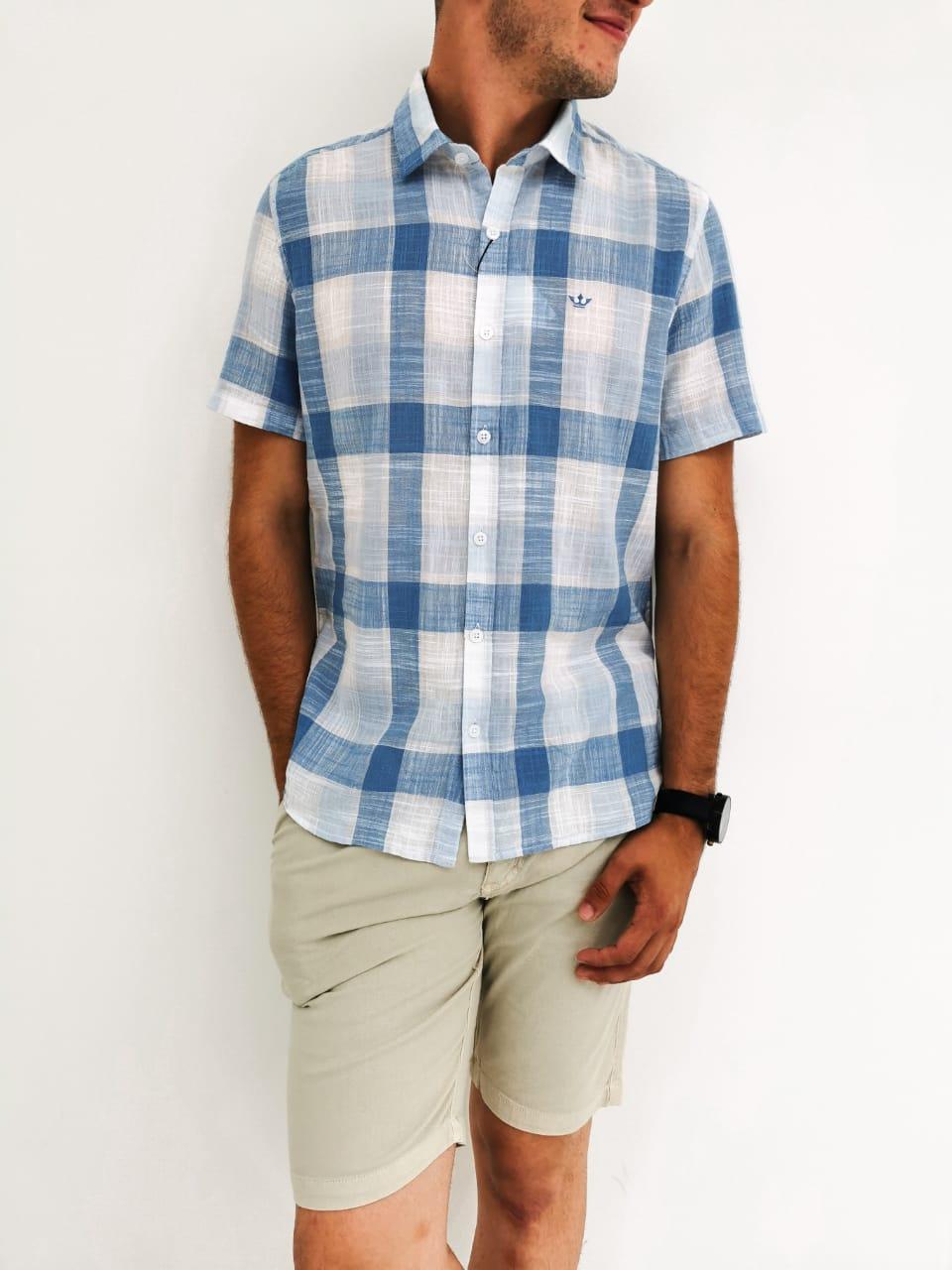 Camisa Docthos Xadrez Azul