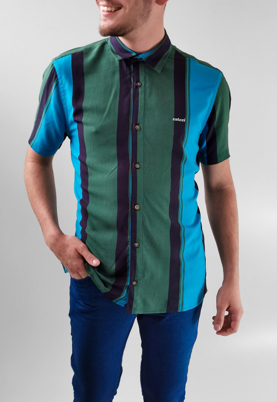 Camisa Manga Curta Colcci Slim Viscose Verde Listas