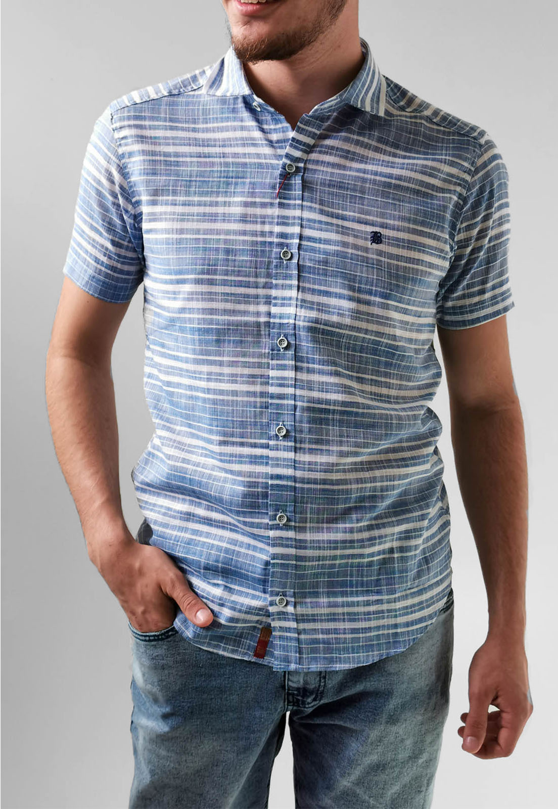 Camisa Manga Curta Slim Baumgarten Listra Azul