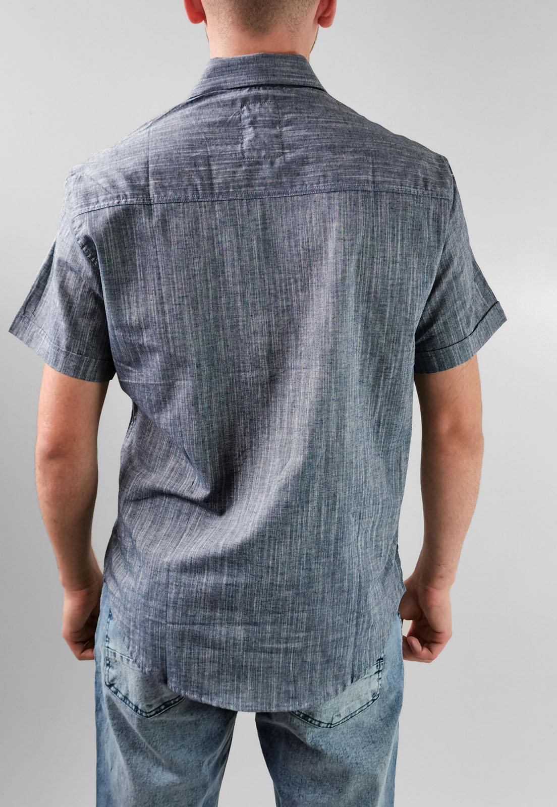 Camisa Manga Curta Slim Gangster Azul Marinho Listas