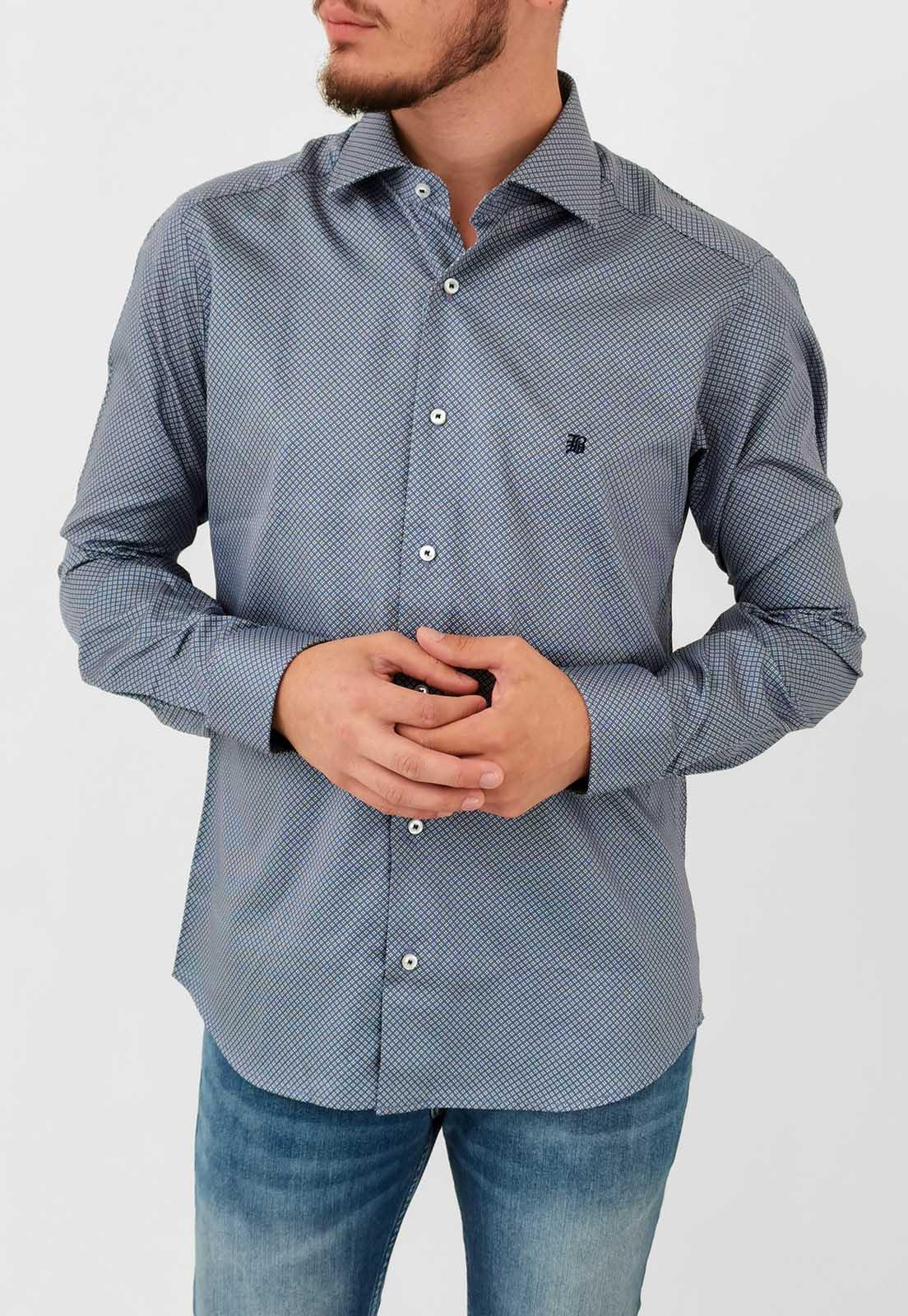 Camisa Manga Longa Slim Baumgarten Azul