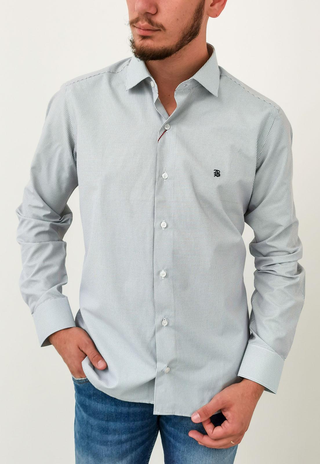 Camisa Manga Longa Slim Baumgarten Xadrez Branco