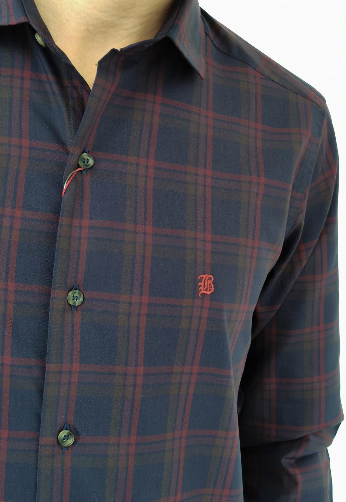 Camisa Manga Longa Slim Baumgarten Xadrez Marinho