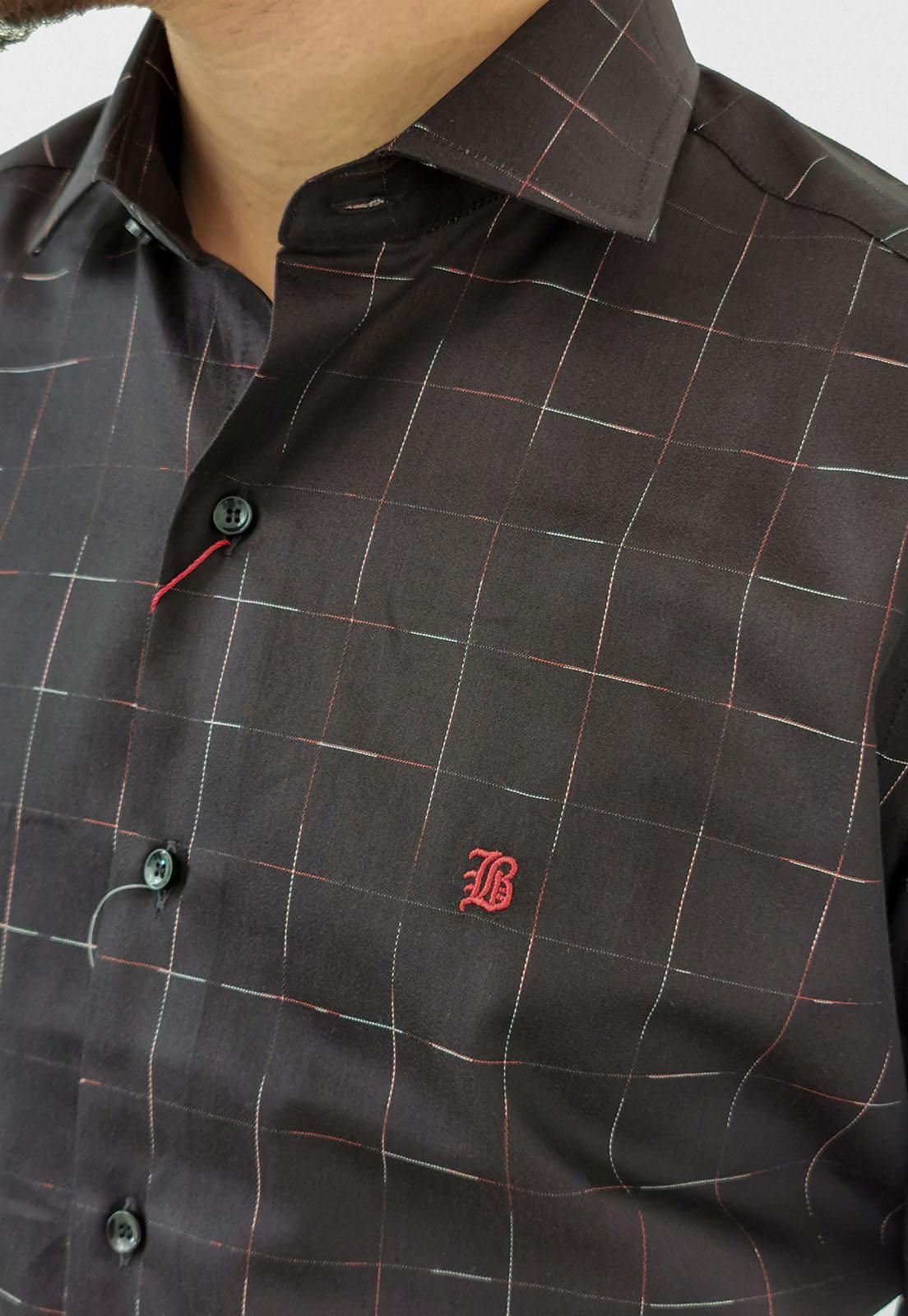 Camisa Manga Longa Slim Baumgarten Xadrez Preto