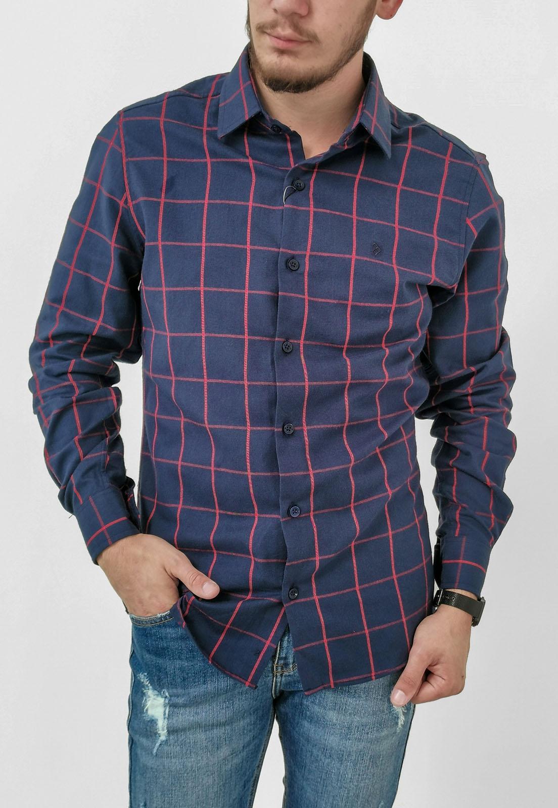 Camisa Pitt Slim Xadrez Azul Marinho Flanelada