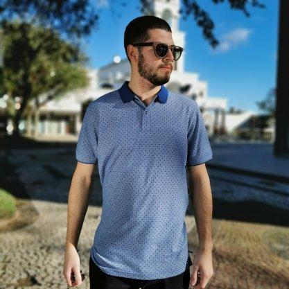Camisa Polo Pacific Blue Azul Com Detahes