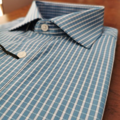 Camisa Raphy Manga Curta Xadrez Azul Variante/Branco