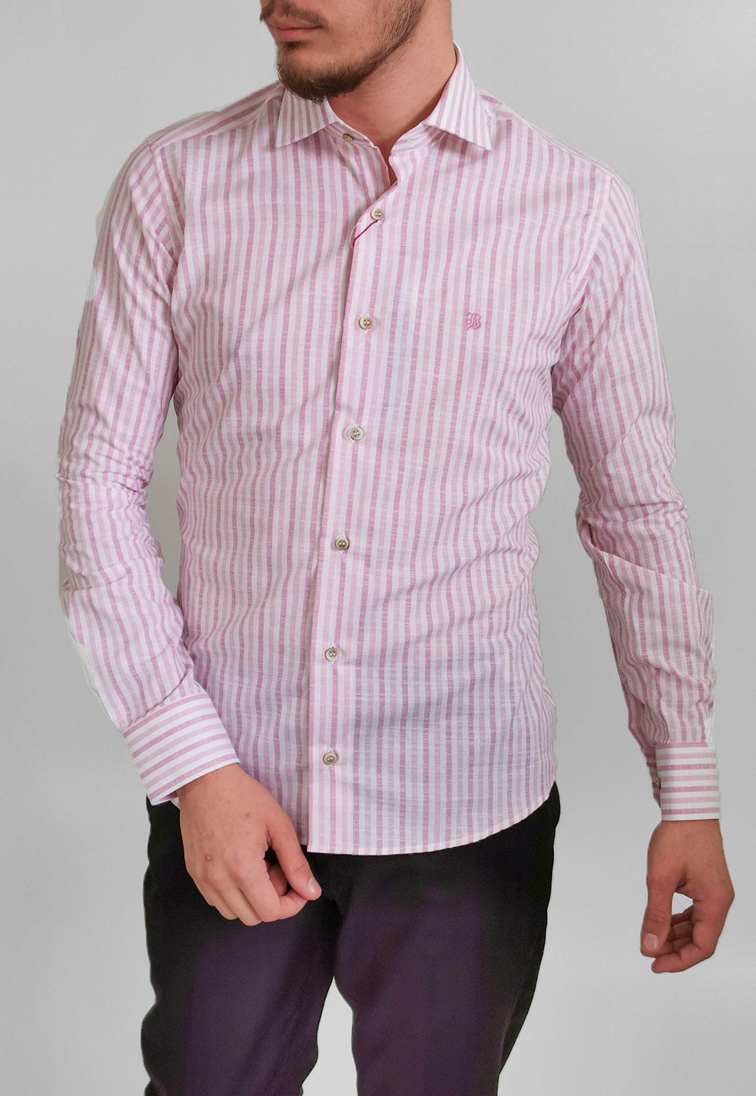 Camisa Slim Baumgarten Rosa Listas