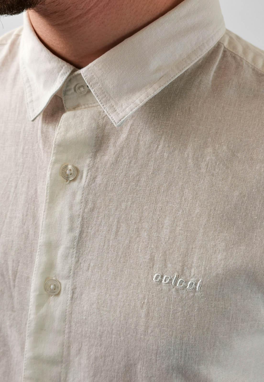 Camisa Slim Colcci Off White Com Linho