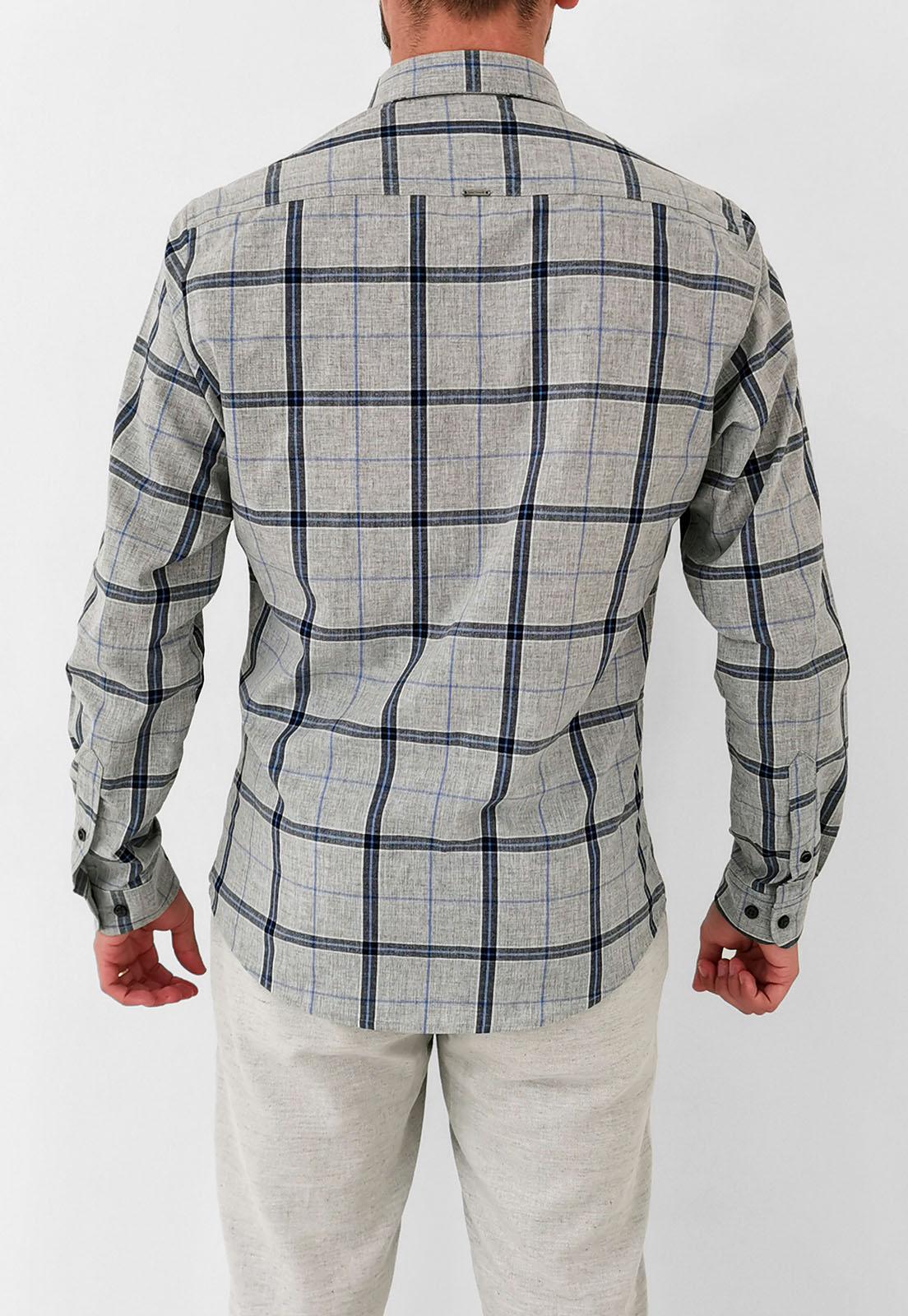 Camisa Slim Docthos Xadrez Cinza Detalhe Azul