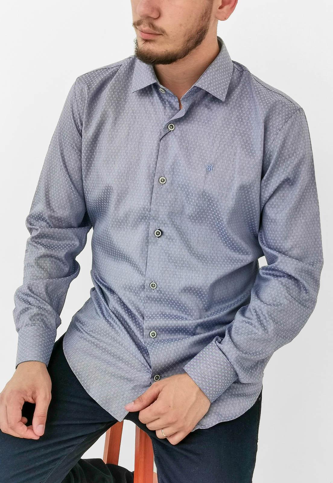 Camisa Slim Highstil Azul Com Detalhes