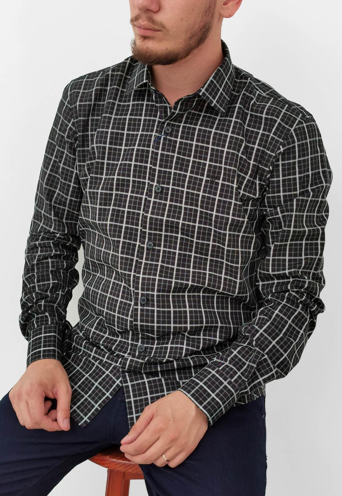 Camisa Slim Highstil Xadrez Preto