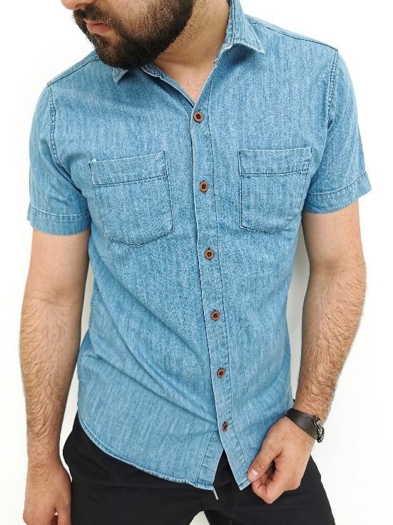 Camisa Trajanos Slim Manga Curta Jeans