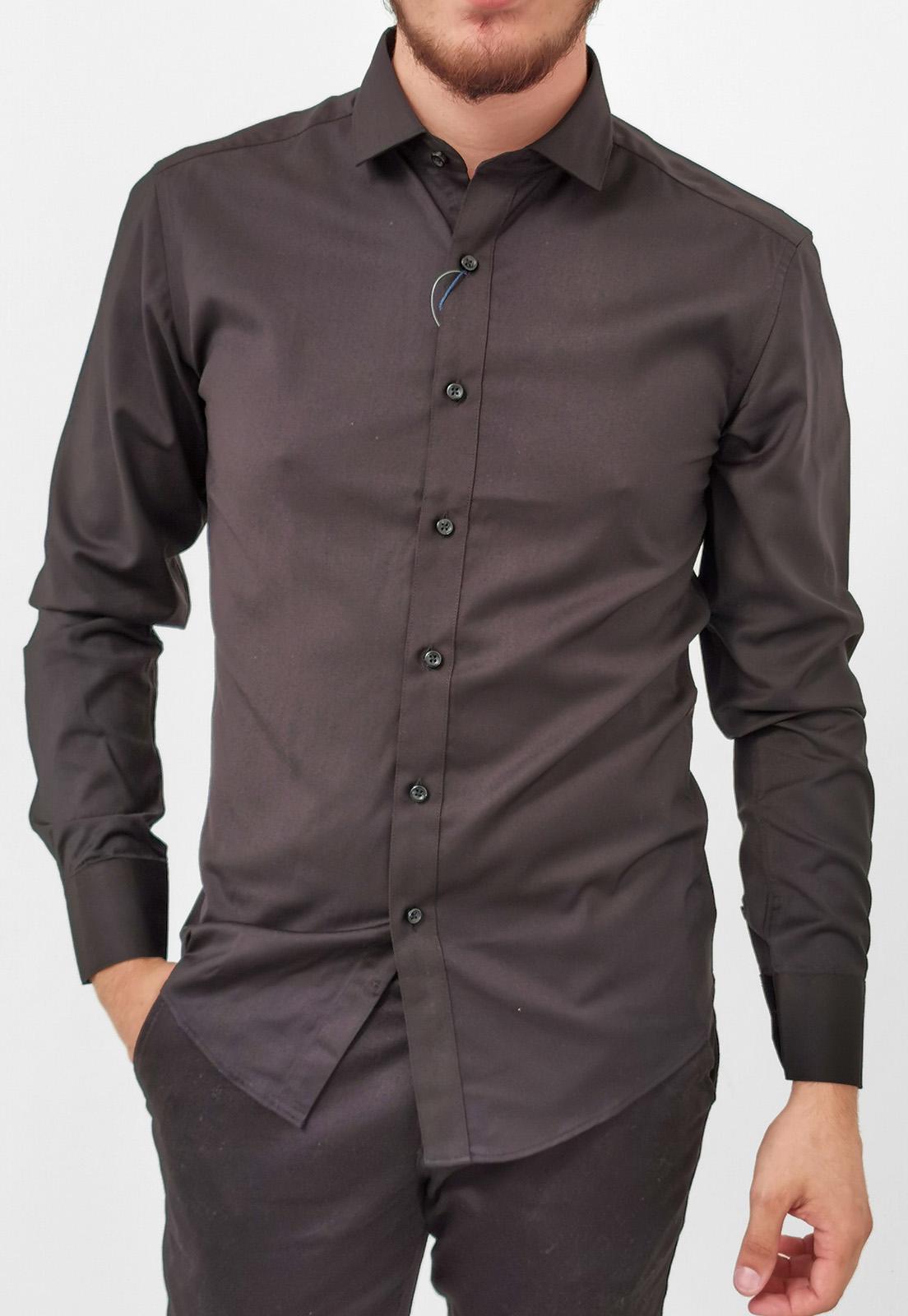 Camisa Vivacci Slim Preto Com Elastano