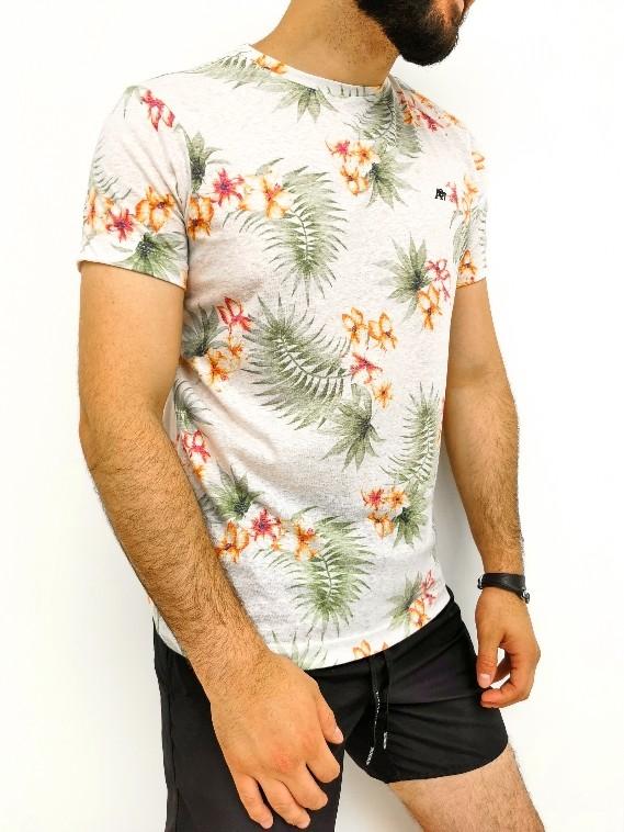 Camiseta Aéropostale Floral Off White