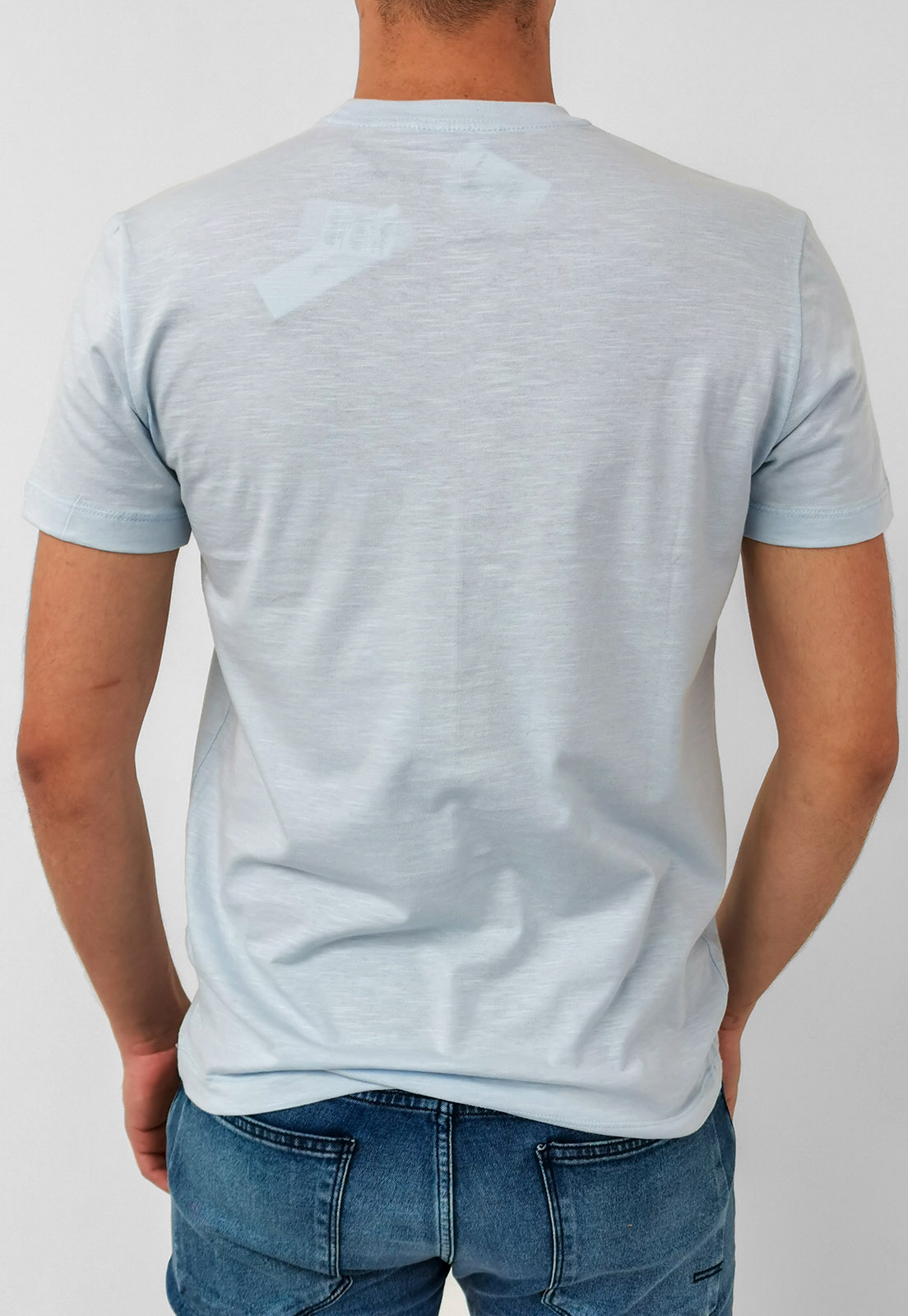 Camiseta Calvin Klein Flamê Azul Claro Básica Logo
