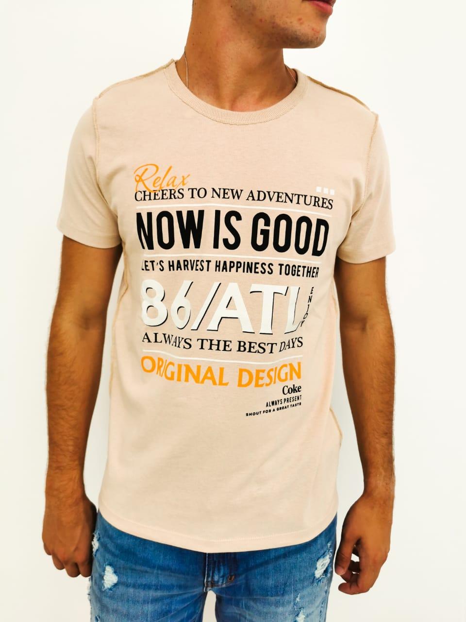 Camiseta Coca-Cola Bege Now