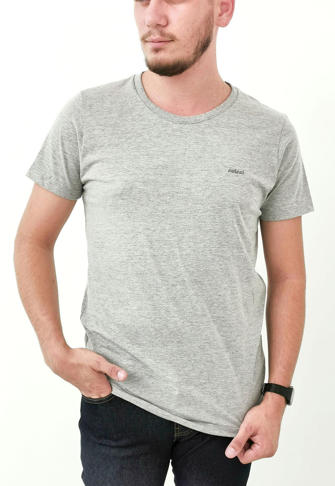 Camiseta Colcci Básica Cinza Mescla com Bordado