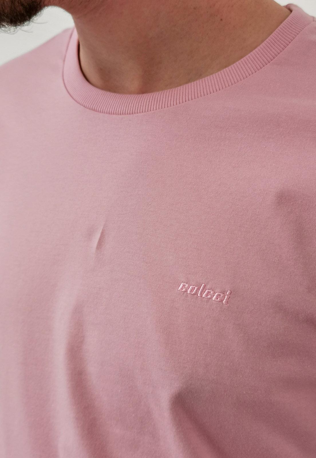 Camiseta Colcci Básica Rosa Logo