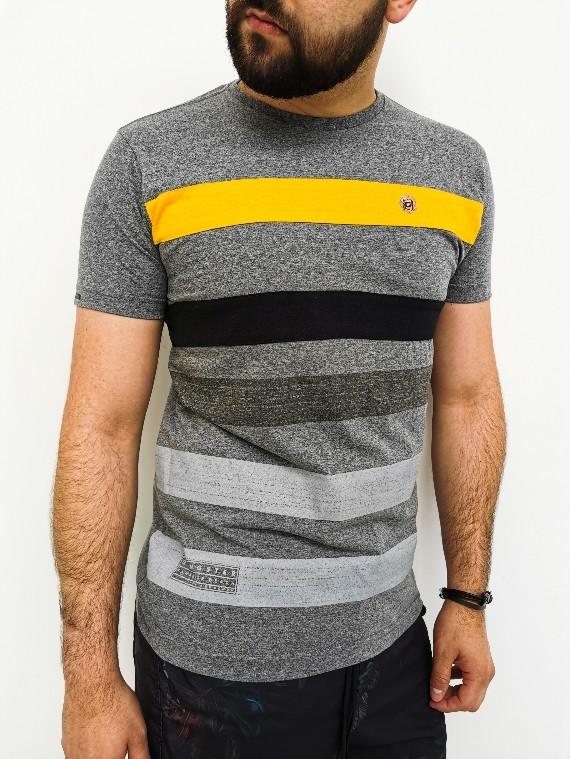 Camiseta Gangster Slim Mescla com Amarelo