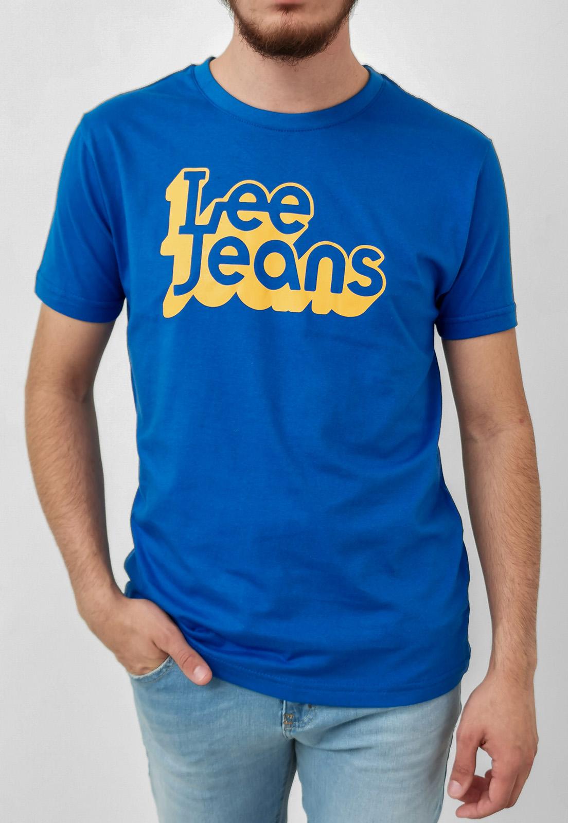 Camiseta Lee Azul Logo Retrô