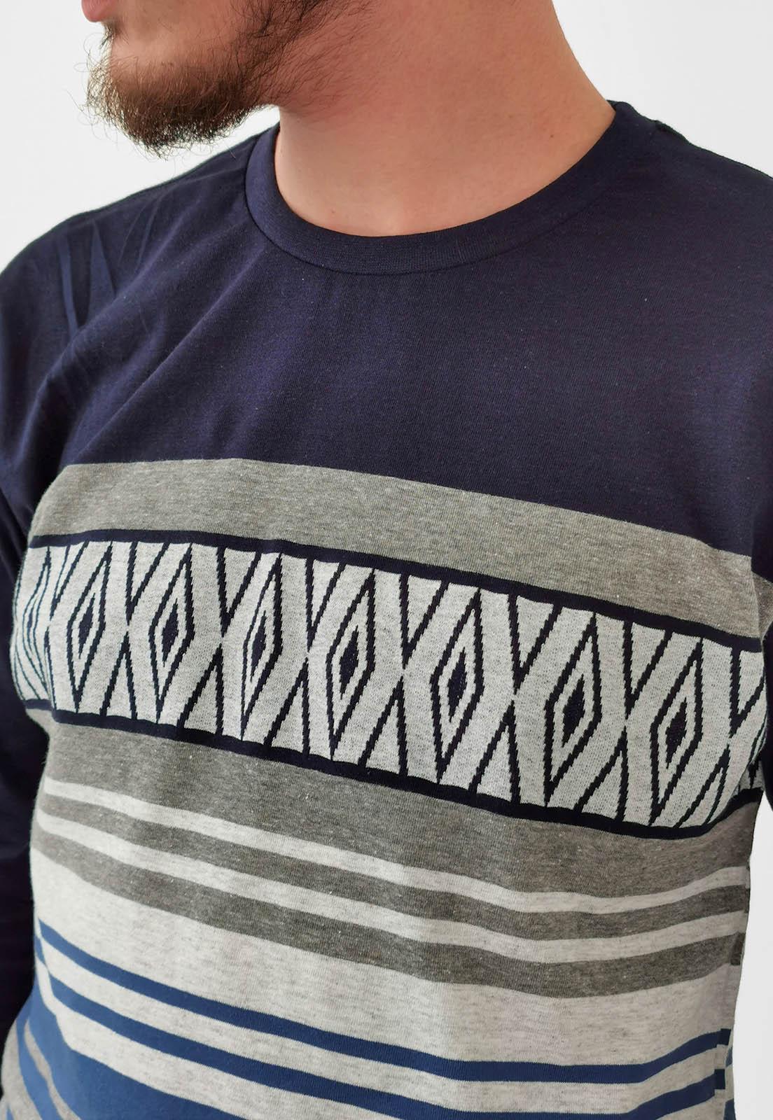 Camiseta Nicoboco Manga Longa Azul Marinho Listas