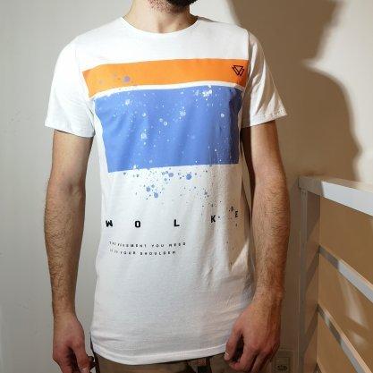 Camiseta Wolke Slim Branca Estampada