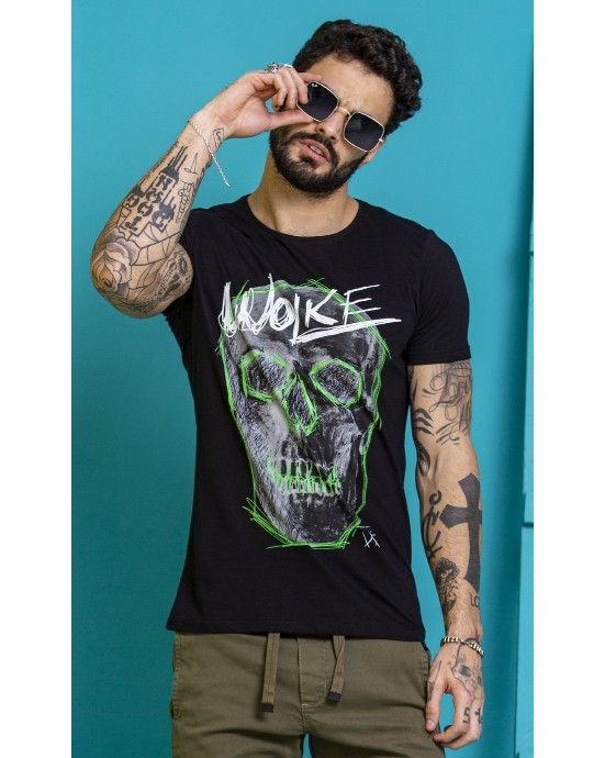 Camiseta Wolke Slim preta Estampada