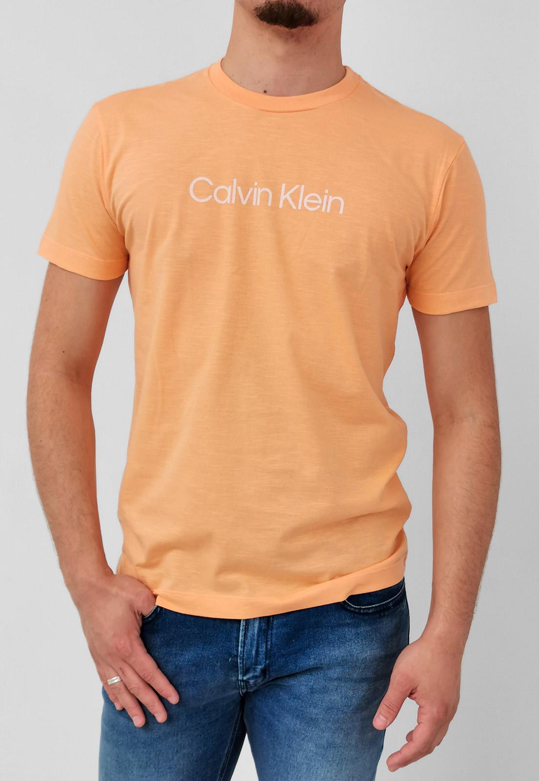 Casmiseta Calvin Klein Flamê Laranja Logo