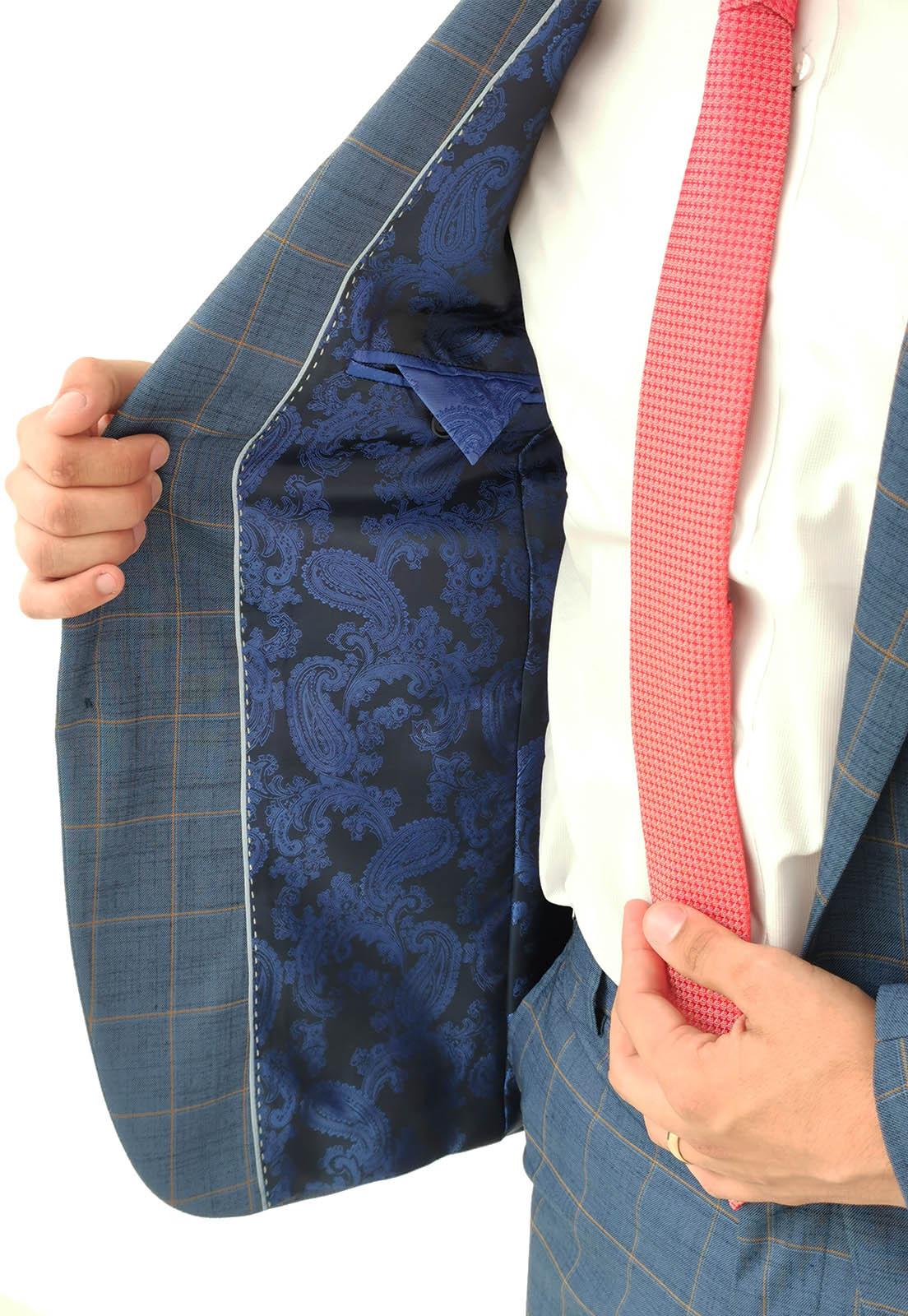 Costume Super Slim Raffer Xadrez Azul