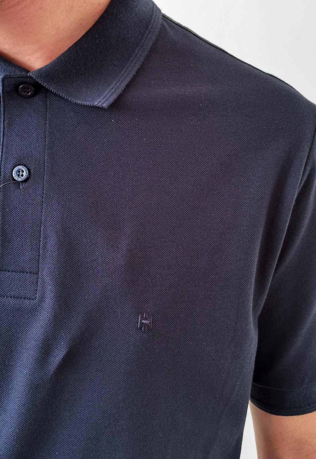 Polo Highstil Azul Marinho Básica Logo Com Elastano
