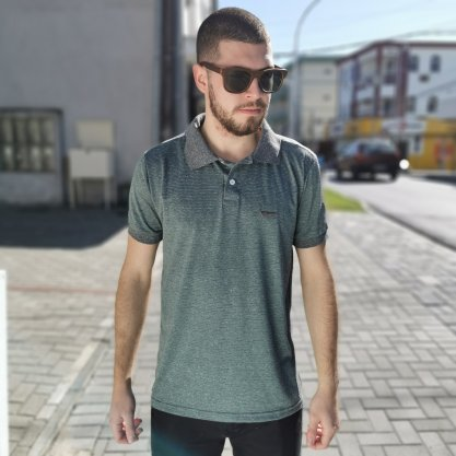 Polo Tigs Listrada Verde/Cinza com Gola Cinza