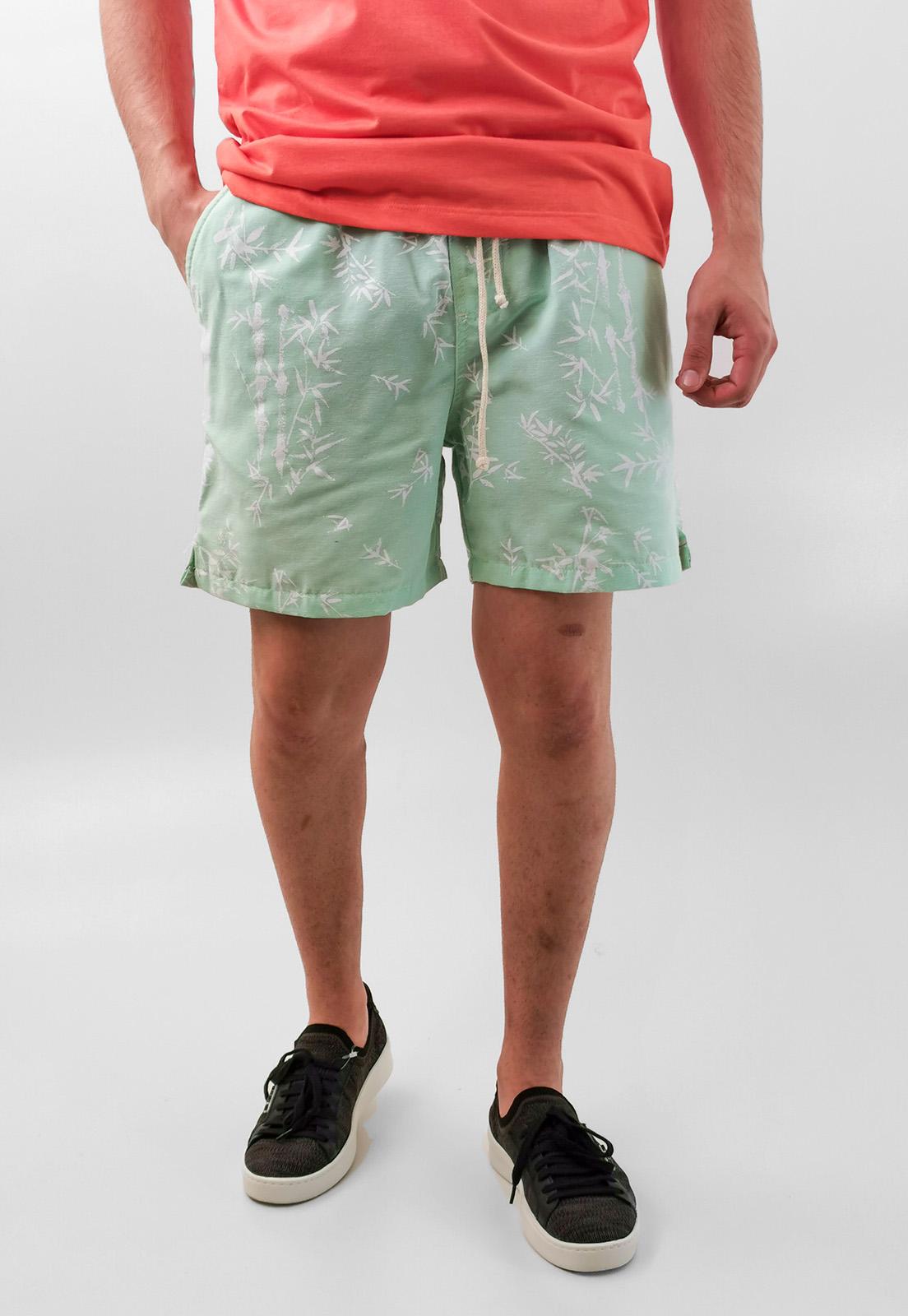 Shorts Bermuda Desert Verde Flor Algodão