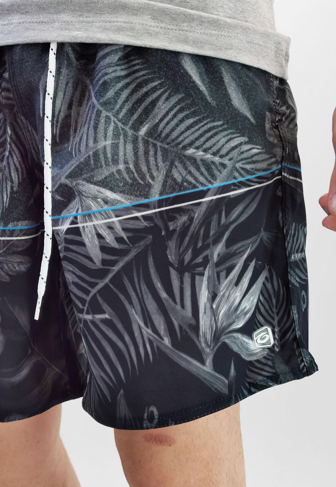 Shorts Bermuda Gangster Cinza Flores Com Elastano