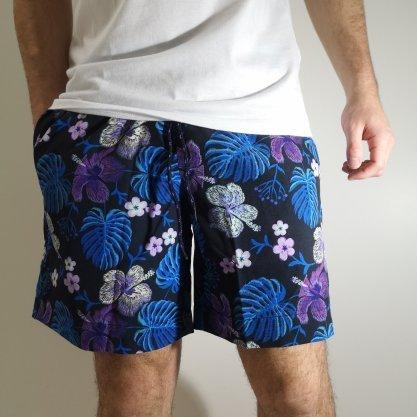 Shorts Oracon Preto/Roxo Flores