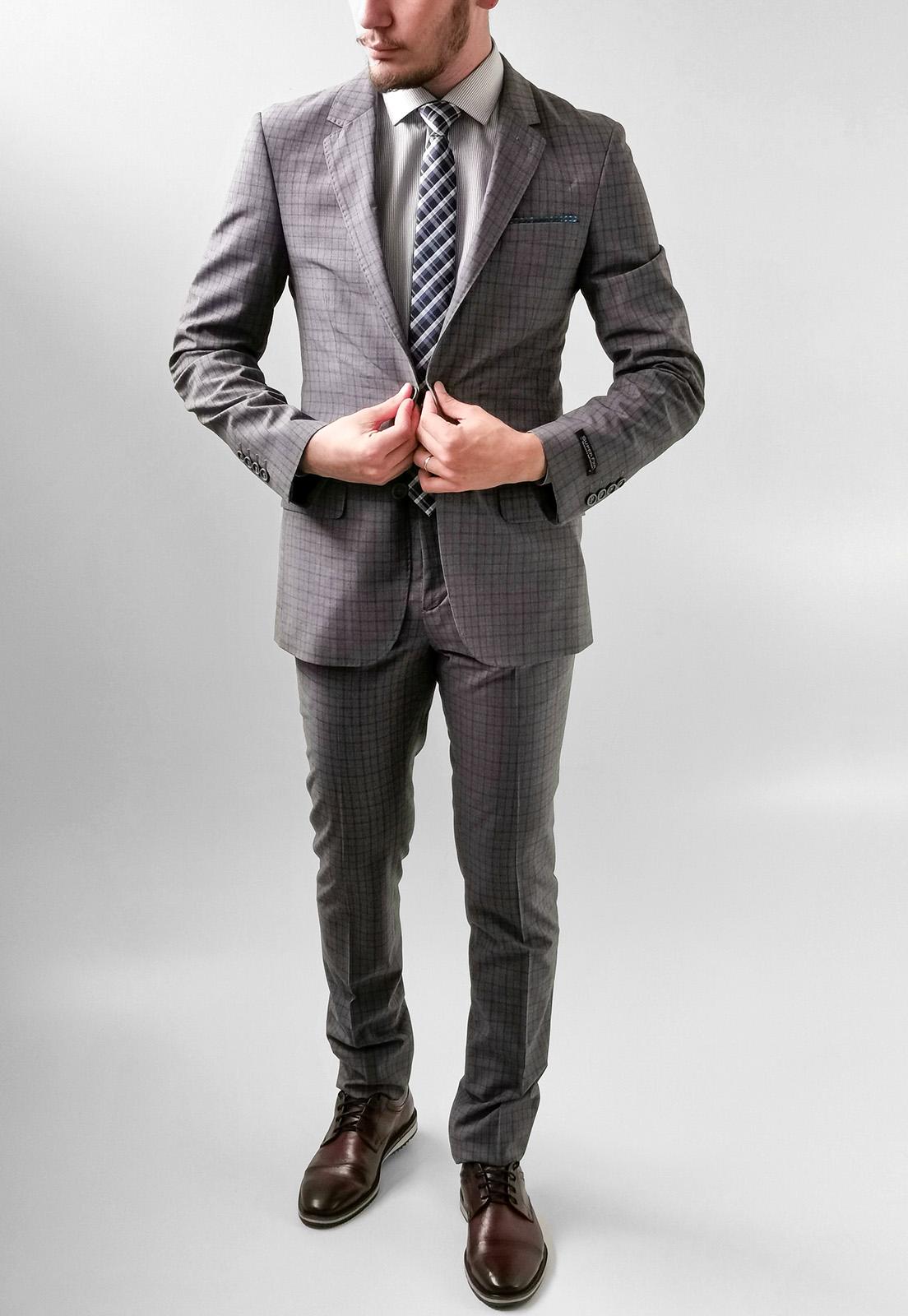 Terno Costume Super Slim Apa Xadrez Cinza