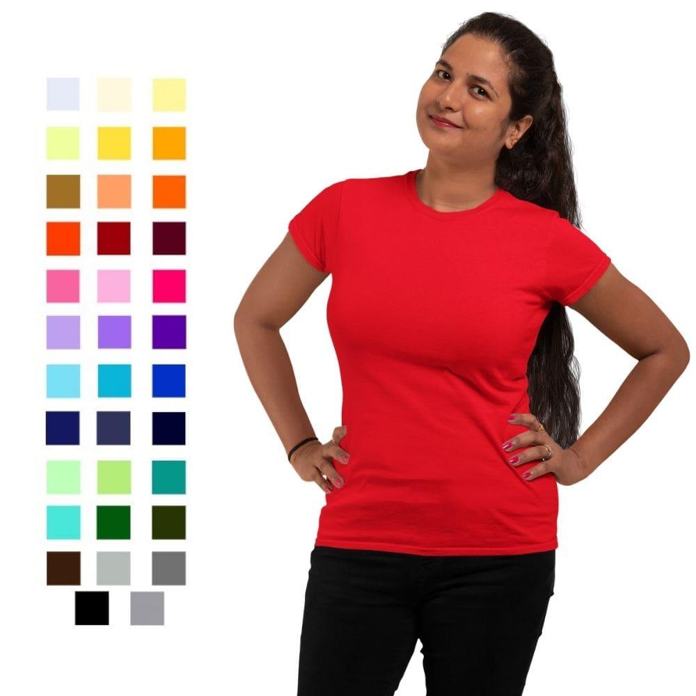 Camiseta T-Shirt Feminina de Algodão Gola Redonda Manga Curta (Ref. 4010)