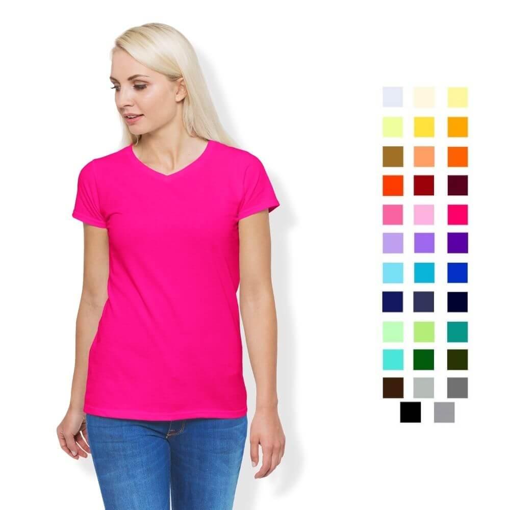 Camiseta T-Shirt Feminina de Algodão Gola V Manga Curta (Ref. 4011)