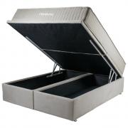 Cama Box Queen Ortobom com Base Baú Camurça Bege 198x158x75