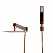 Chuveiro Slim de Parede com Desviador Rose Gold 20x20cm
