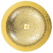 Cuba de Apoio Redonda Gold Dourada 41x41cm CUBA33