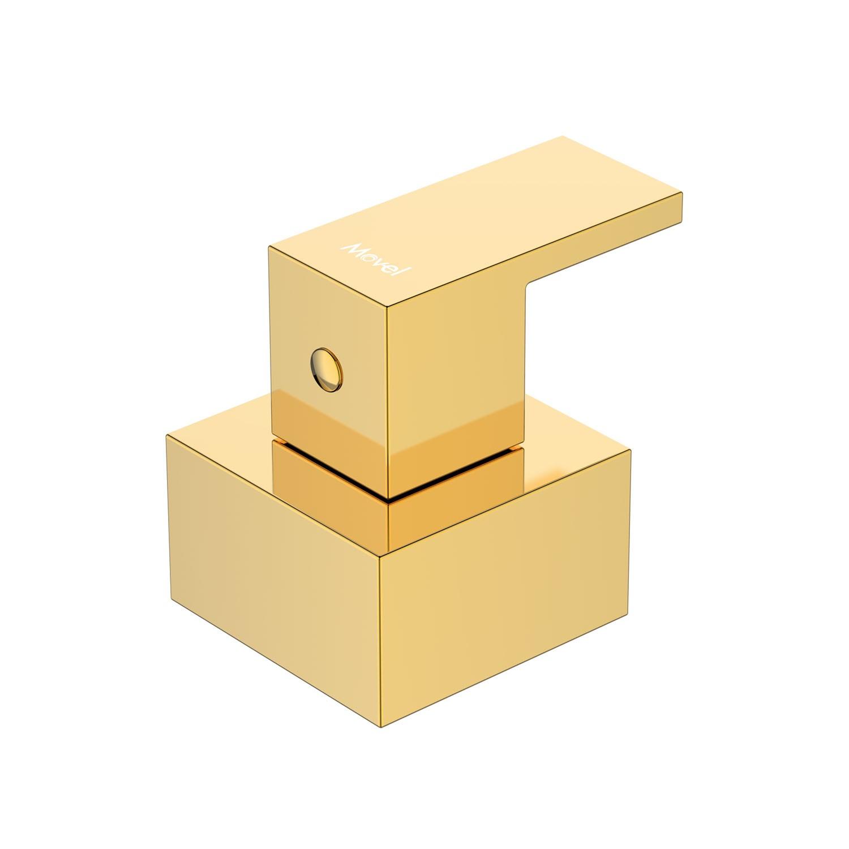 Acabamento Registro Quadrado Gold Dourado Cubo Base Deca